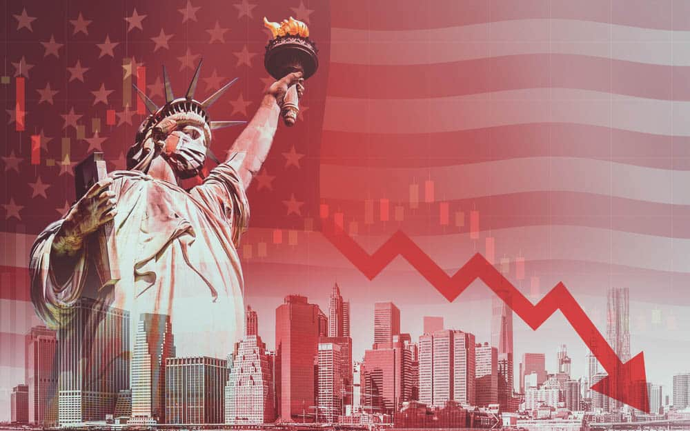 Statue Of Liberty With Mask On With Depiction Of Stock Market Crashing
