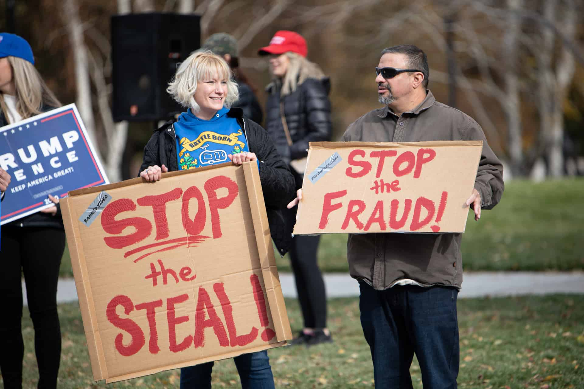 Protestors with Stop the Steal sign