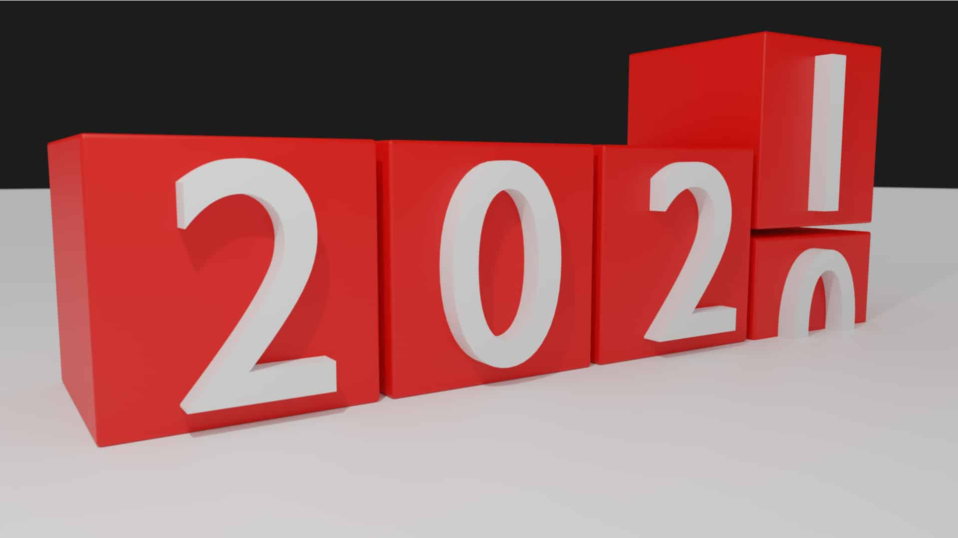 Blocks implying 2020 turning to 2021