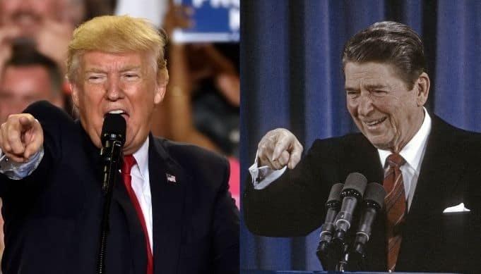 Donald Trump and Ronald Reagan both pointing