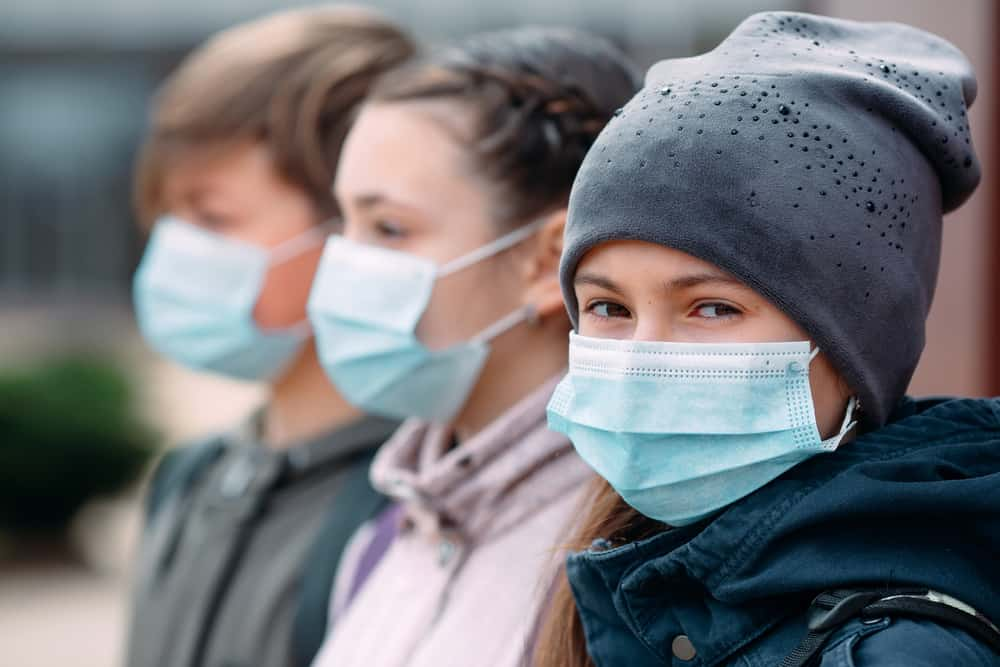 Children wearing medical masks