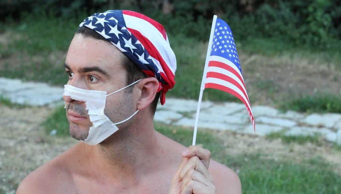 Anti Masker with an American flag